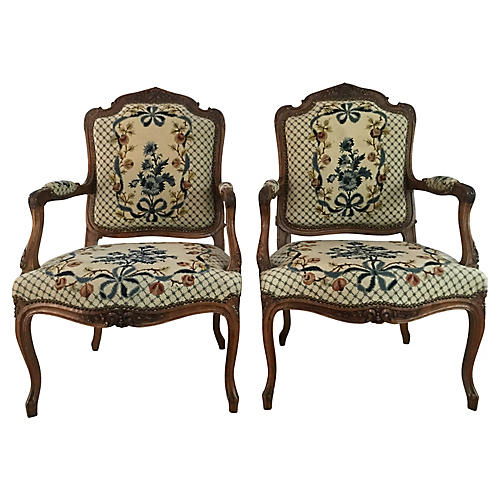 French Louis XV-Style Accent Chairs, S/2
