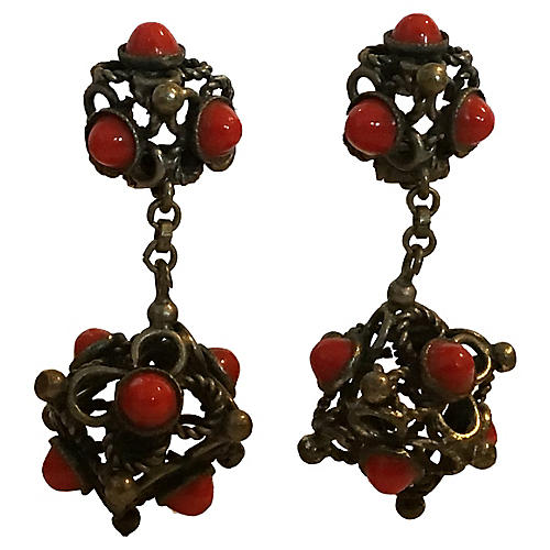 Coral Glass Etruscan Earrings
