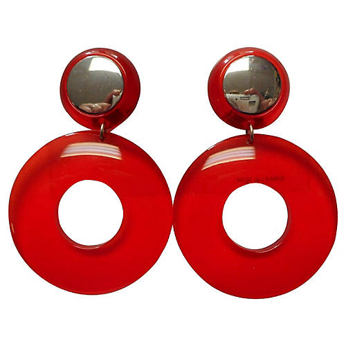 1980s Cherry Lucite Hoops