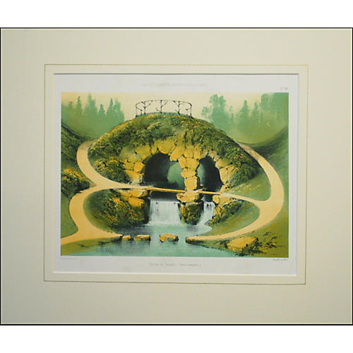 French Garden Print - Grotto & Waterfall