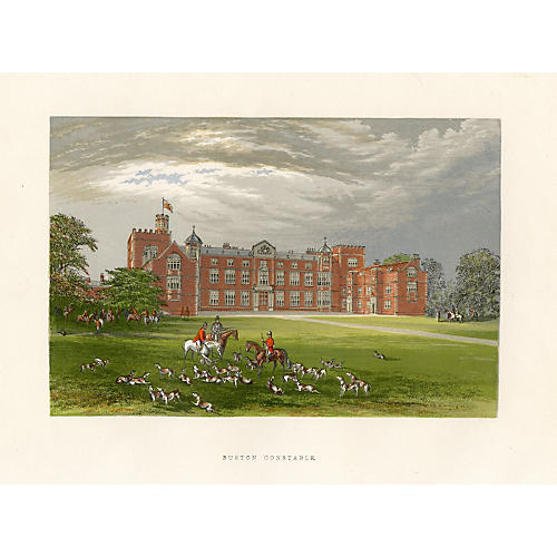 19th-C. English Manor Hall Print