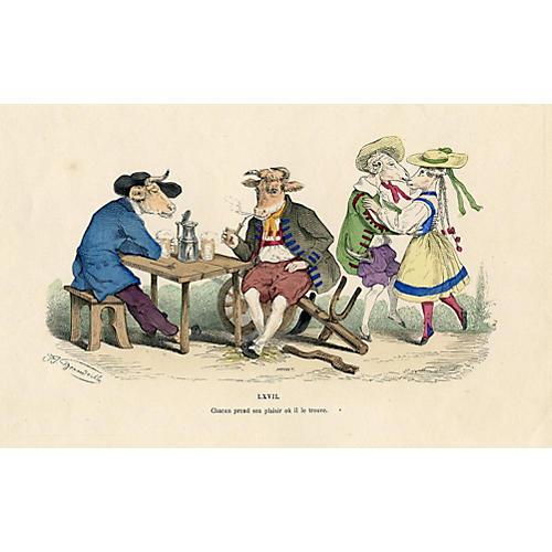 French Satirical Print, 1854