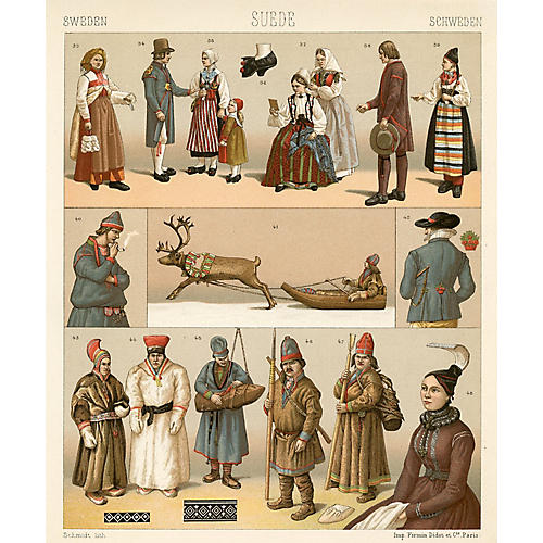 Swedish Ceremonial Costumes Print, 1888