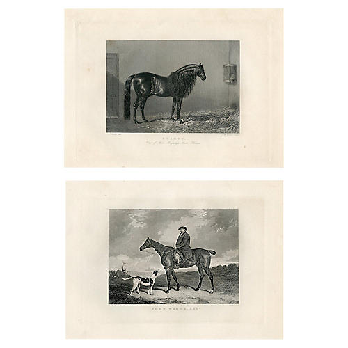 1840s British Equestrian Prints, Pair
