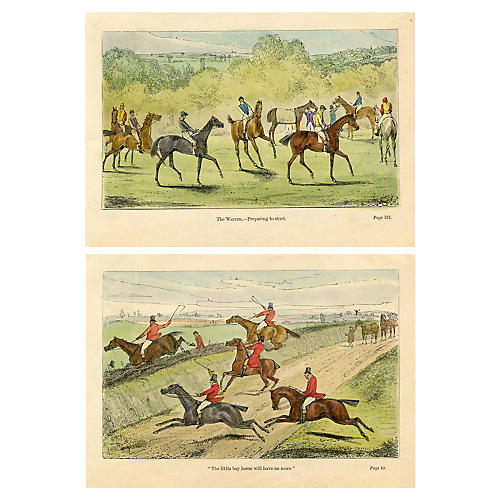 19th-C. British Equestrian Prints, S/2