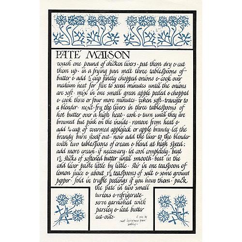 Pate Maison Recipe Print, 1968