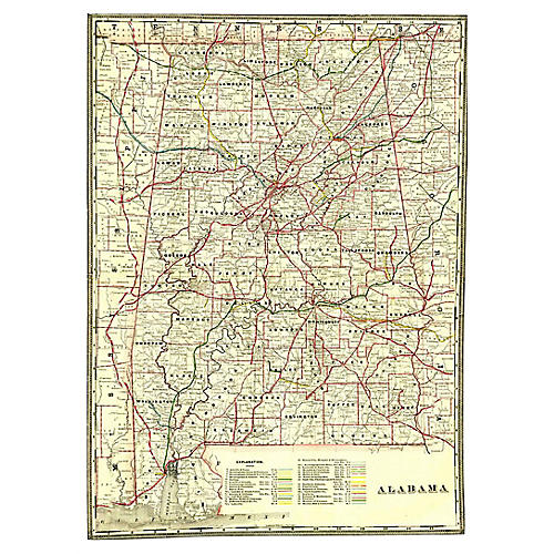 Alabama Railroad Map, 1897