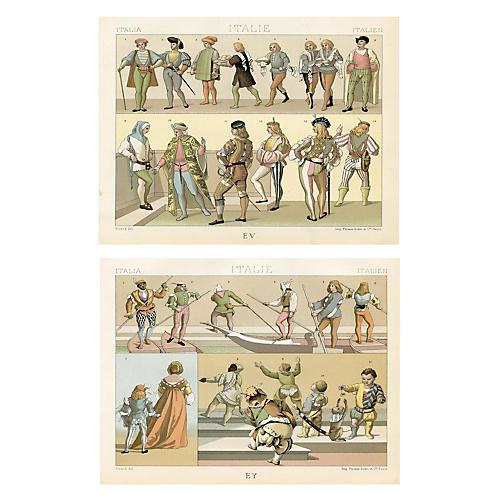 19th-C. Italian Men's Fashions, Pair
