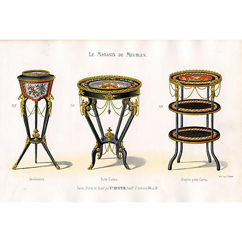 French Furniture Print - Tables, 1860s