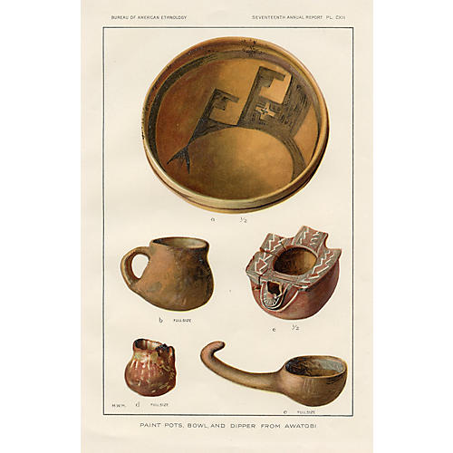 19th-C. Native American Indian Pottery