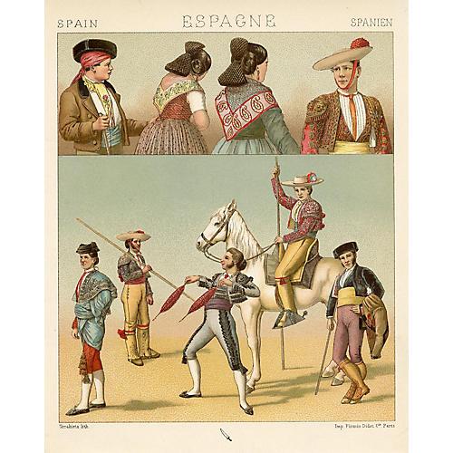 19th-C. Spanish Bullfighting Print