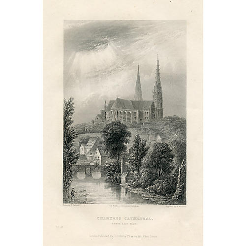 Chartres Cathedral, 1830s Engraving