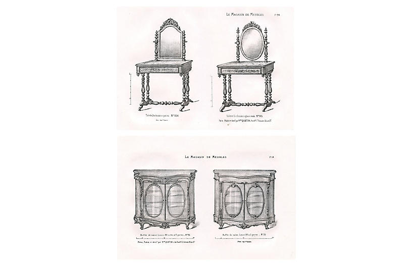 19th-C. French Furniture Prints, Pair