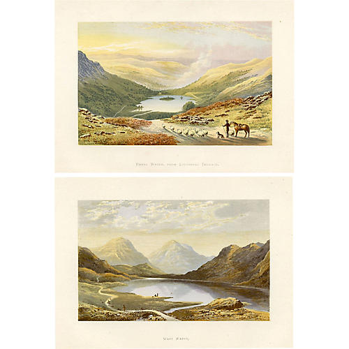 19th-C. English Lake Prints, Pair
