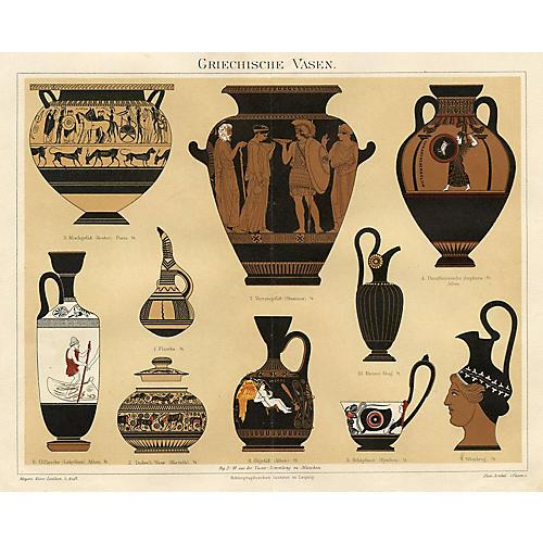 19th-C. Grecian Vase Print