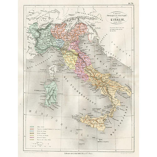 19th-C. Italian Political Map