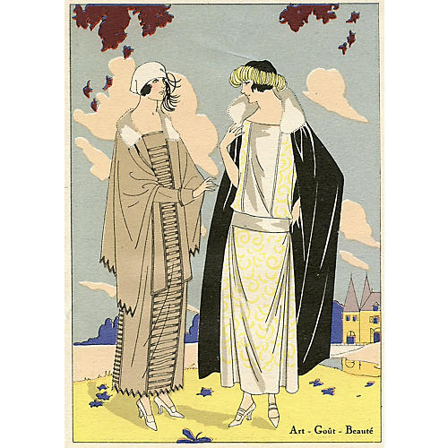 Art Deco French Fashion Print, C. 1920
