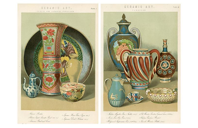 19th-C. Asian & European Vases, Pair