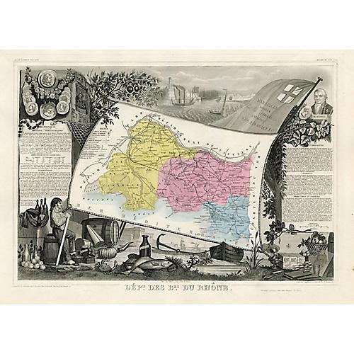 1861 French Regional Map w/ Marseille