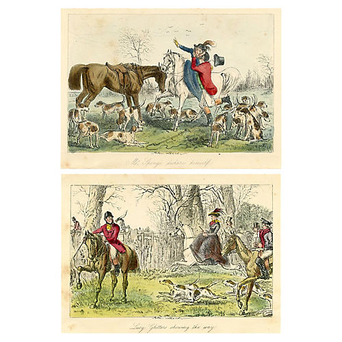 Equestrian Prints by John Leech, Pair