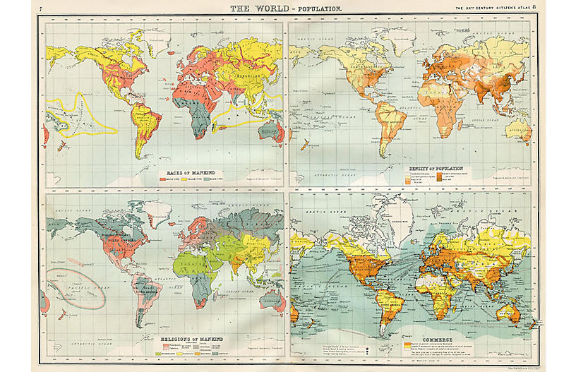 Population of the World Map, 1900