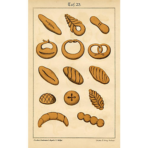 19th-C. Baking Print, Biscuits