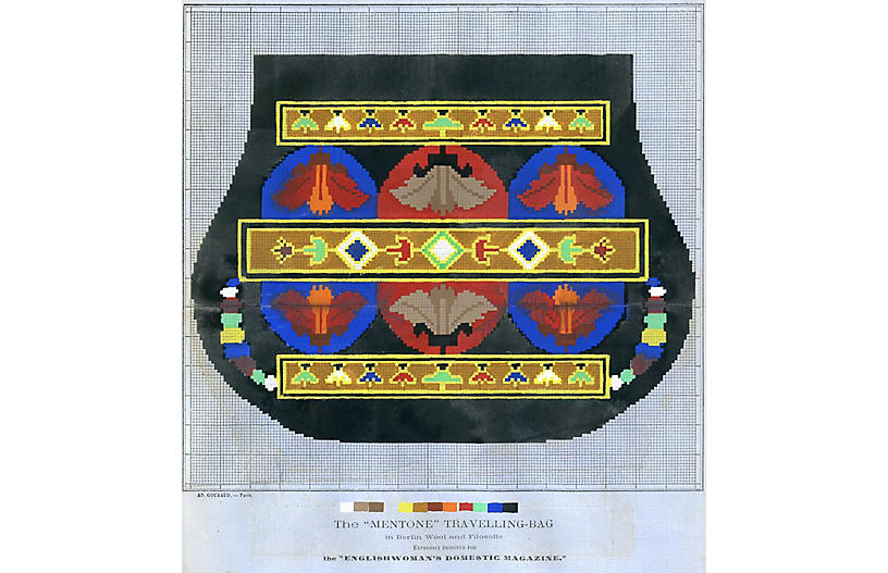 Travel Bag Needlepoint Pattern, 1867