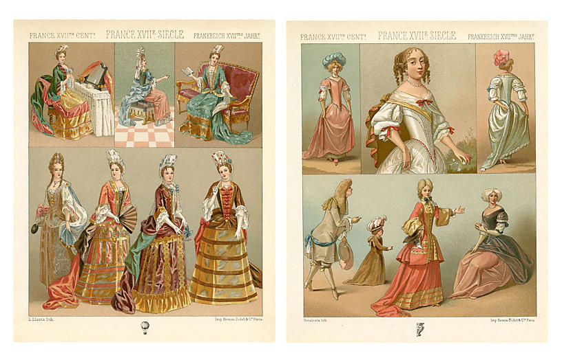 French Fashions from the 17th-C., Pair