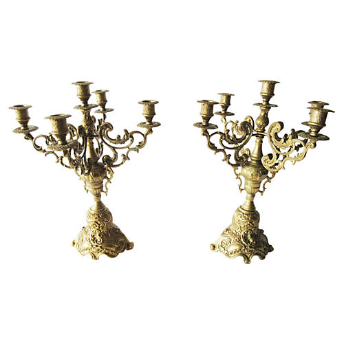 Ornate Brass Four-Arm Candelabra, S/2