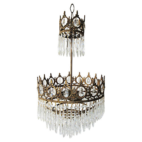 French 5-Tier Crystal Chandelier