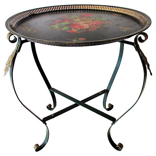 Italian Tole Tray Side Table