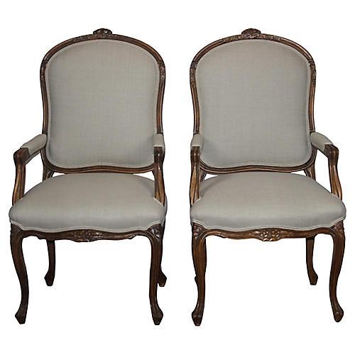 Louis XVI-Style Armchairs, S/2