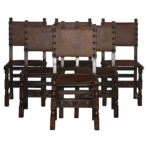 Spanish-Style Dining Chairs, S/6