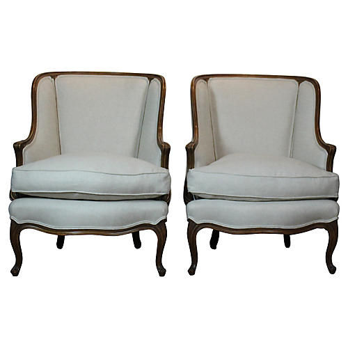 Louis XV-Style Wingback Chairs, Pair
