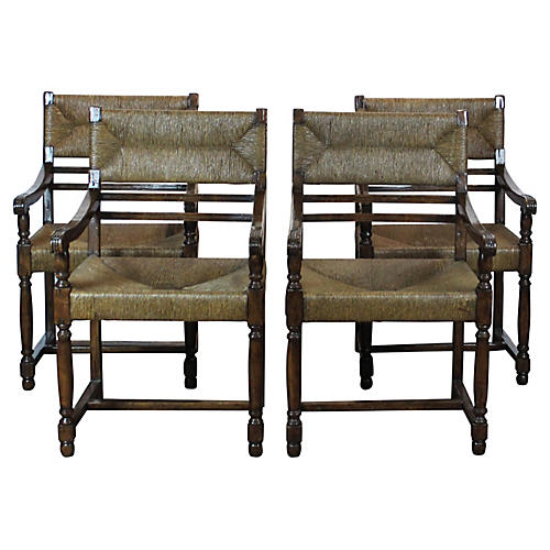 Rush-Seat Armchairs, S/4