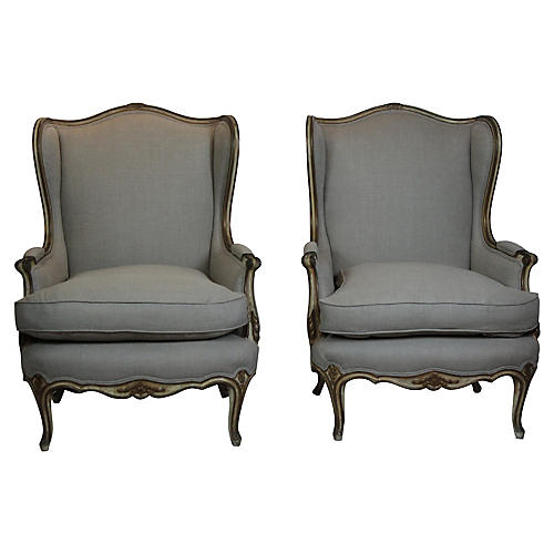 Louis XV Style Wingback Chairs