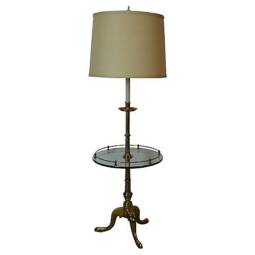 Brass Floor Lamp w/ Tray Table
