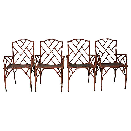 Faux-Bamboo Armchairs, S/4