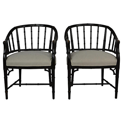 S/2 Faux-Bamboo Chairs