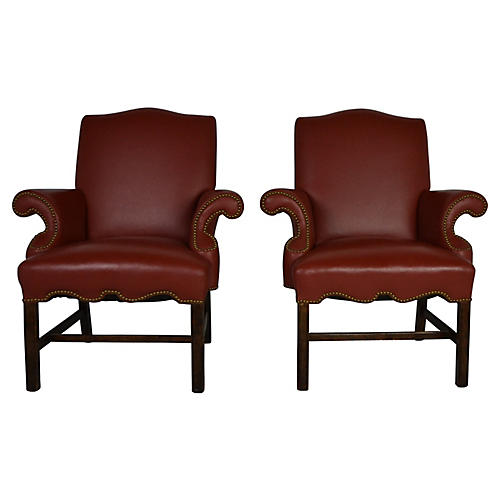 Leather Armchairs, S/2