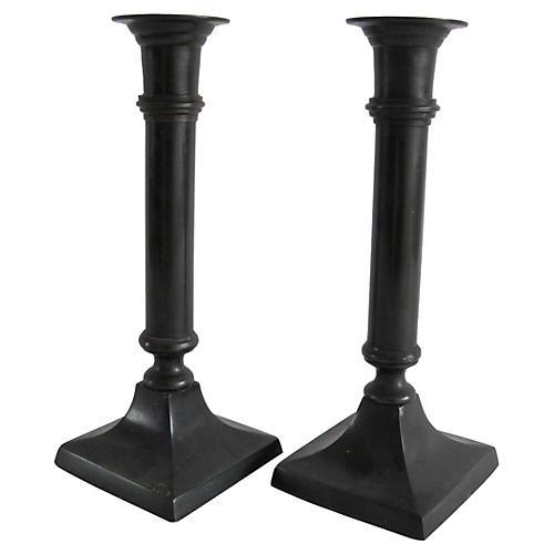 Granite Metal Candlesticks, Pair