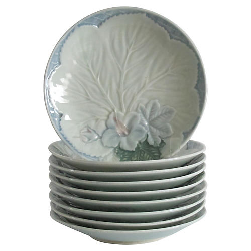 Floral Majolica Plates, S/9