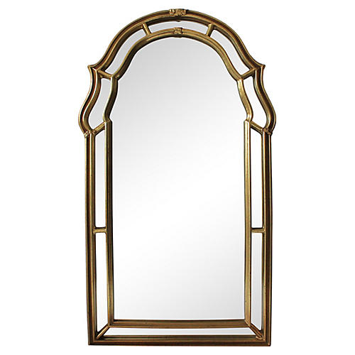 Midcentury Gilded Keyhole Mirror