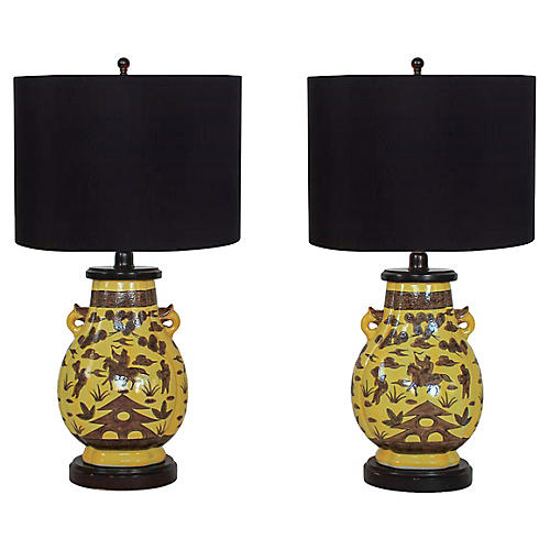 Paul Hanson Urn Lamps, Pair