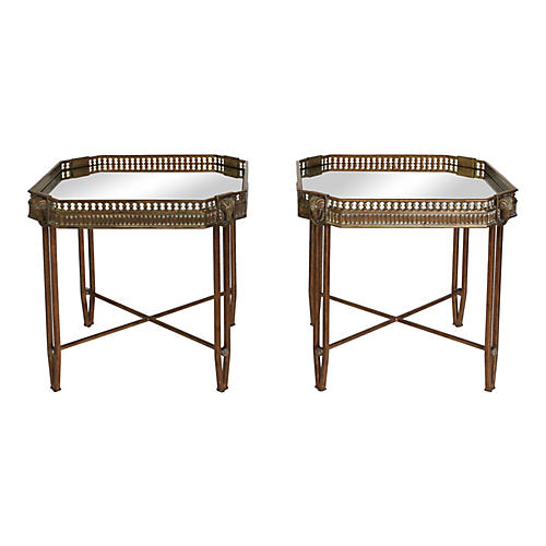 Brass & Iron Rams Head Side Tables