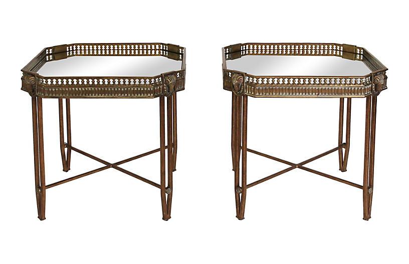 Brass & Iron Rams Head Side Tables