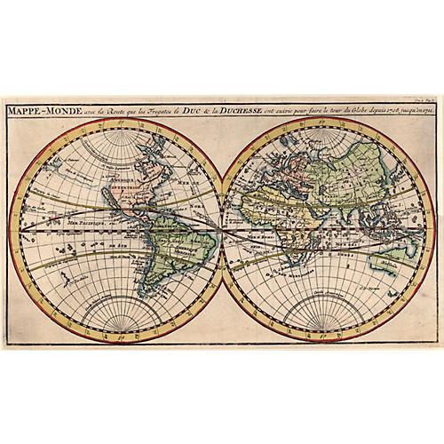 Copper Engraving World Map 1715