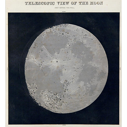 19th-C. Telescopic View of the Moon