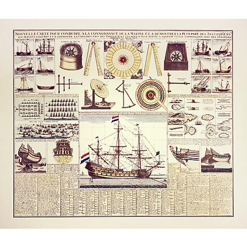 18th-C. Ship Construction Chart
