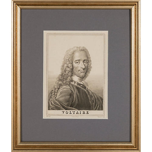 Framed Portrait of Voltaire